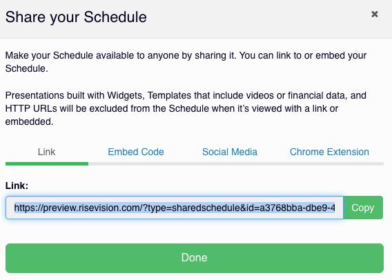 copy rise vision schedule URL link