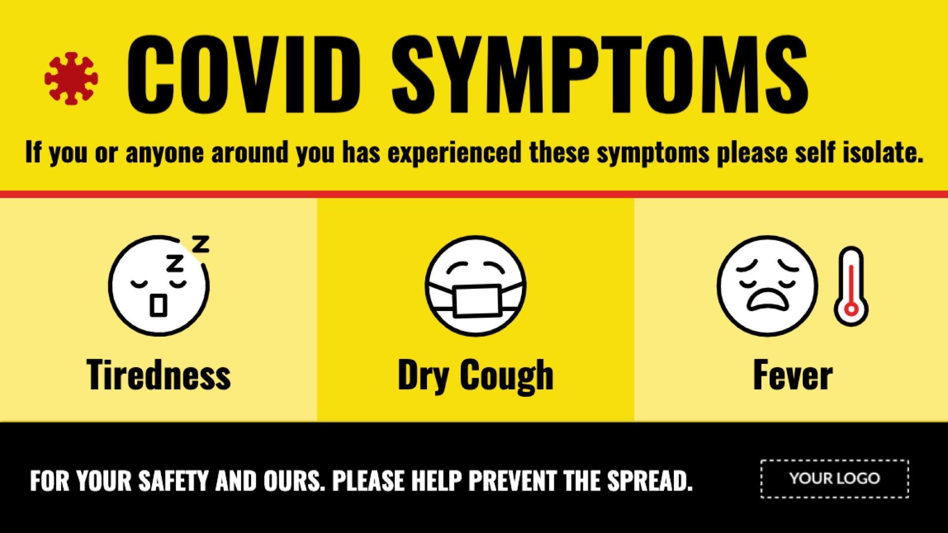 covid-19 symptoms digital signage template