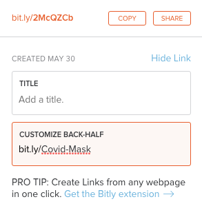 customize bitly link for Rise Vision
