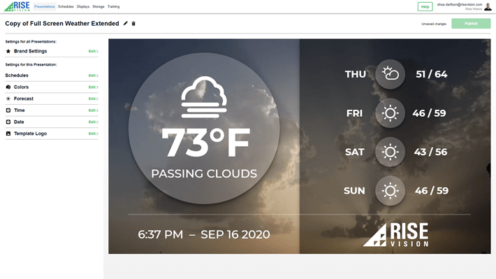 A live preview of digital signage content in a web browser.