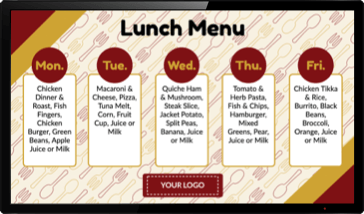 Digital Signage for Lunch Menus and Cafeterias