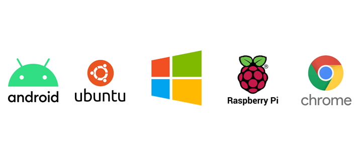 Logos for the Ubuntu, Android, Chrome OS, Windows, and Raspberry Pi digital signage player operating systems.