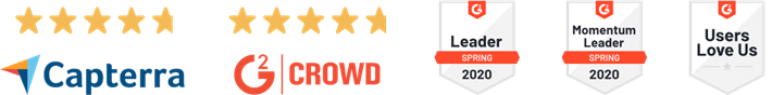 5 star reviews and leader badges for Rise Vision digital signage software.