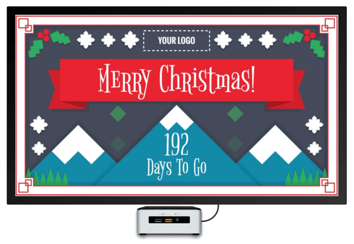 A Christmas digital signage template for use with Rise Vision digital signage software.
