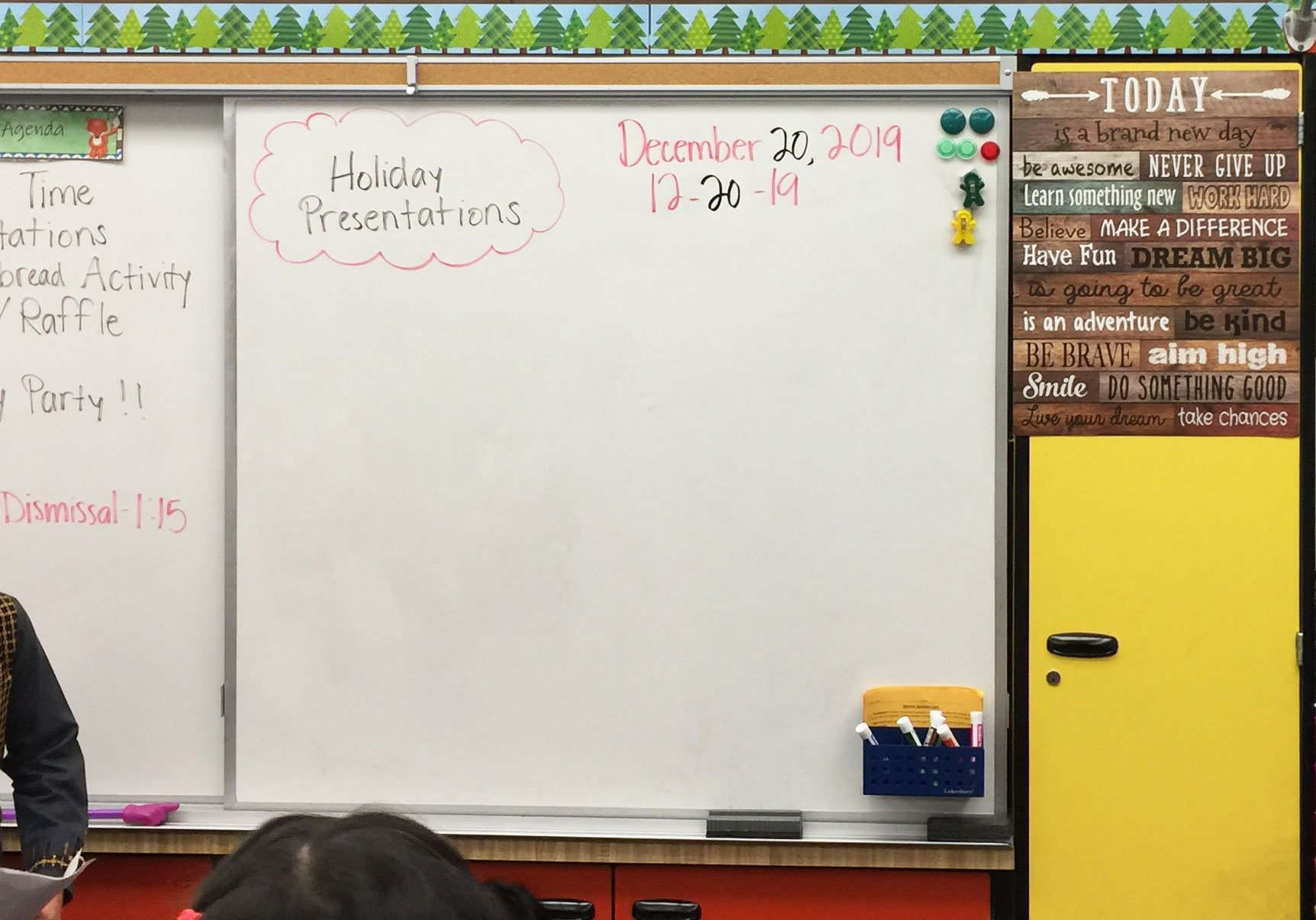 Dry erase classroom wall calendar example