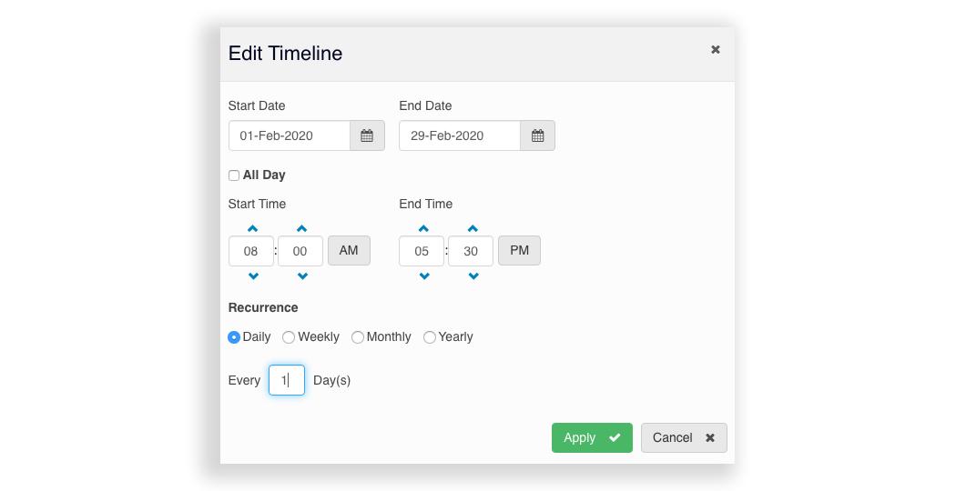 Edit Digital Signage Timeline