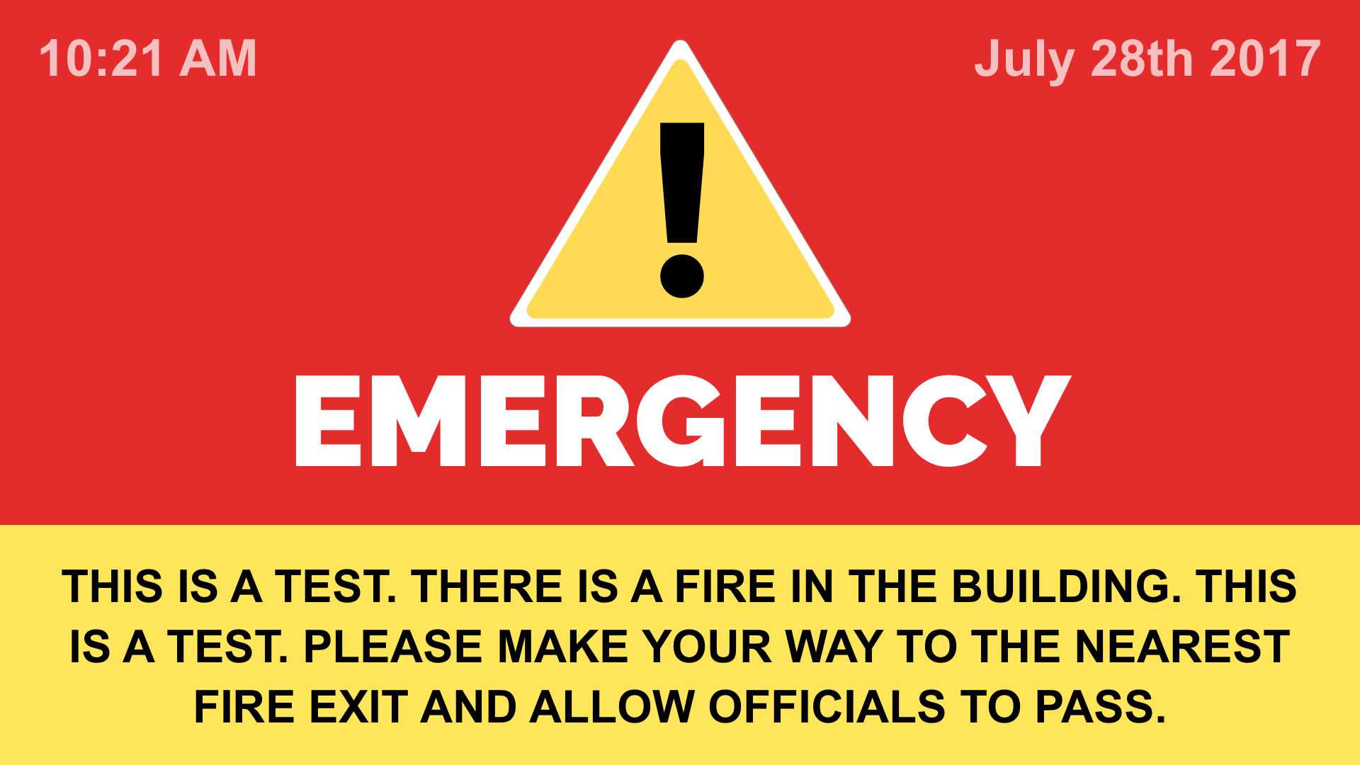 Emergency Notification Digital Signage Template