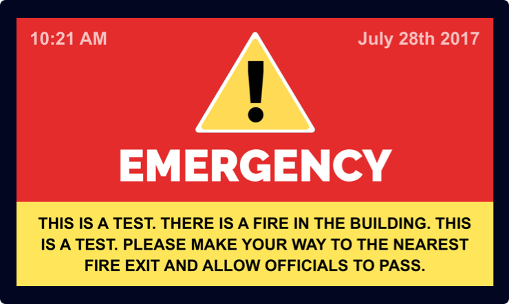 emergency notification template digital signage