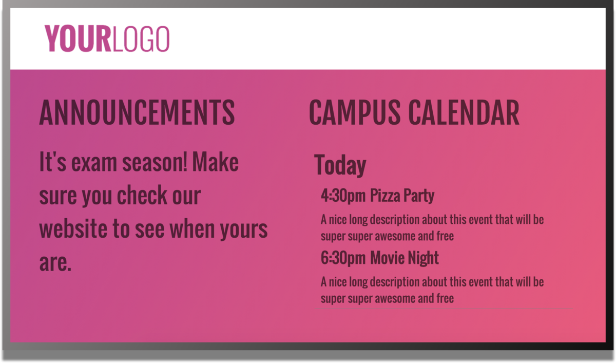 anouncements and campus calendar digital signage template