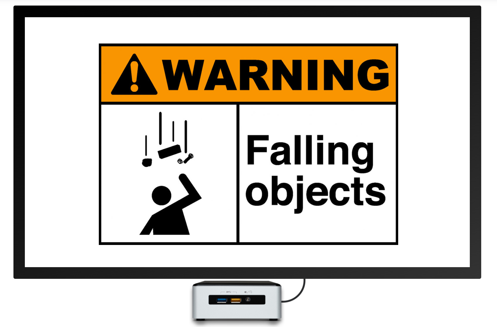 falling objects warehouse digital signage