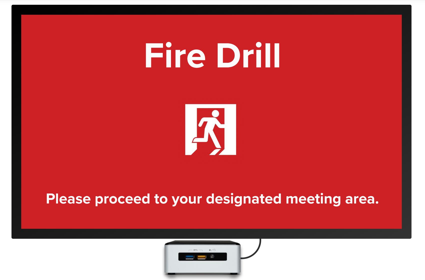fire drill digital signage template