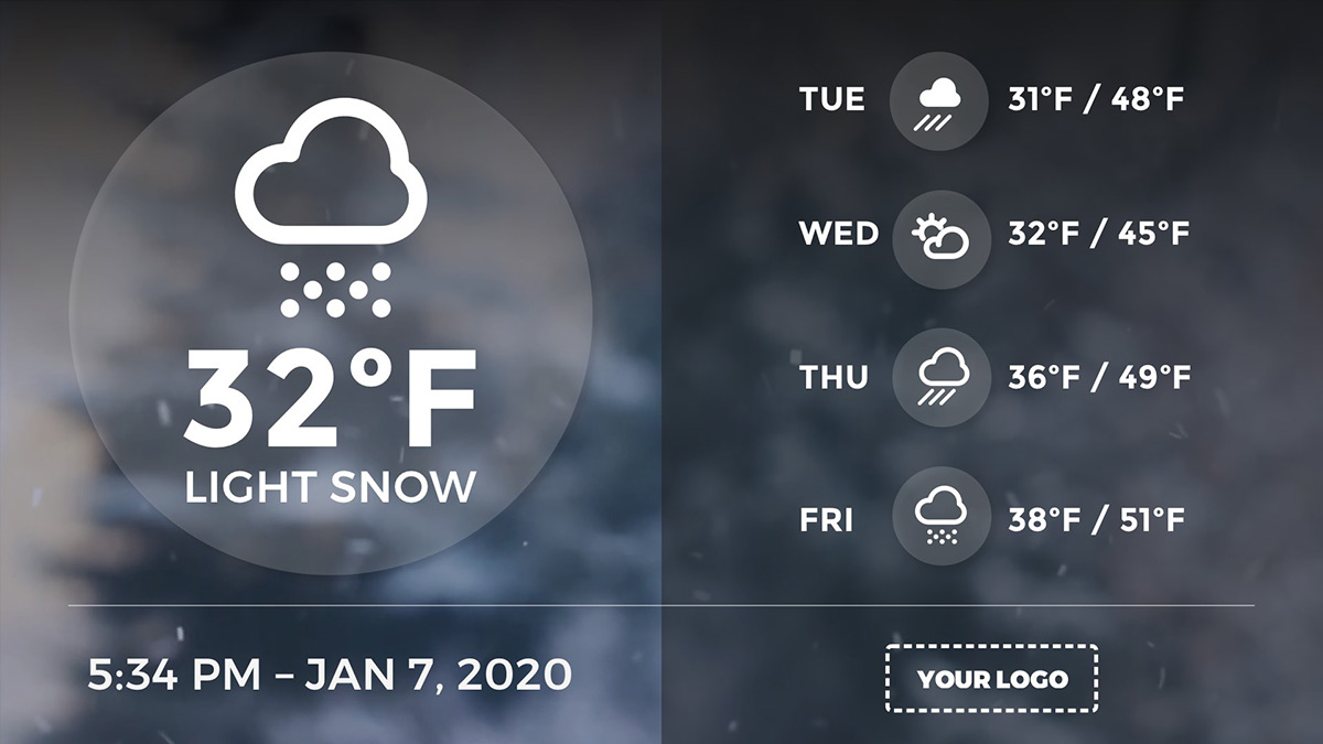 full screen weather digital signage template