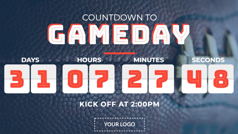 gameday countdown digital signage template