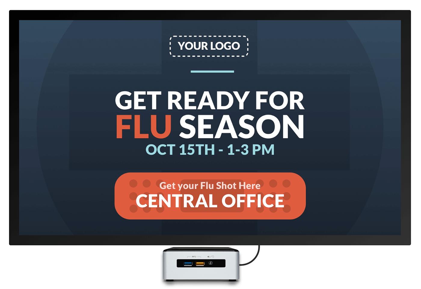 get your flu shot digital welcome sign