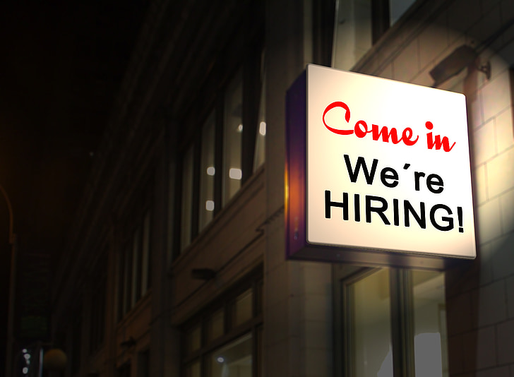 Good Example Of a High Contrast Hiring Signage