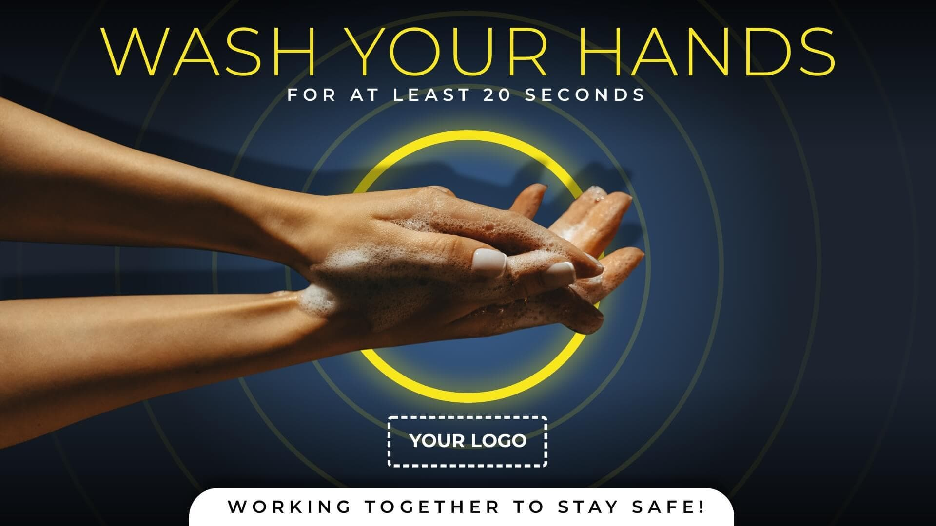 Digital signage showing a message to wash your hands for at least 20 seconds.