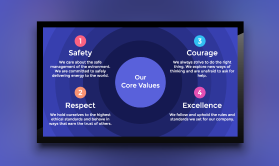 digital signage template for core values