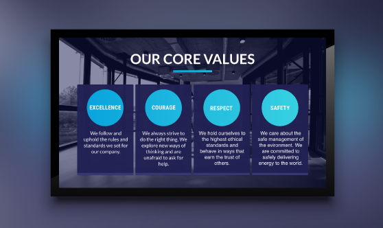 digital signage template core values of a company