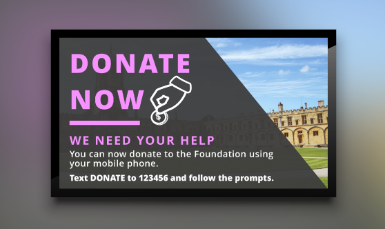 digital signage template for donations