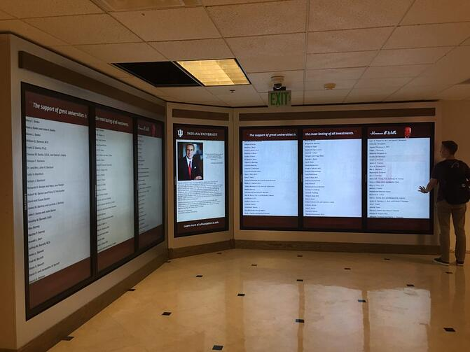 interactive digital signage Samsung displays at Indiana University