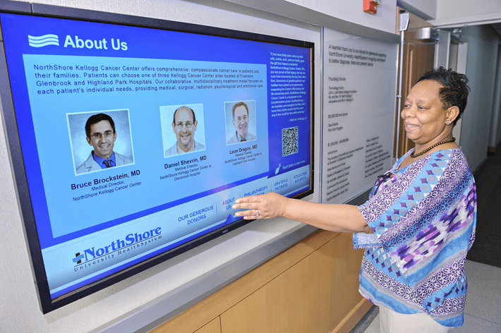 A digital sign showing someone interacting with an interactive digital sign.