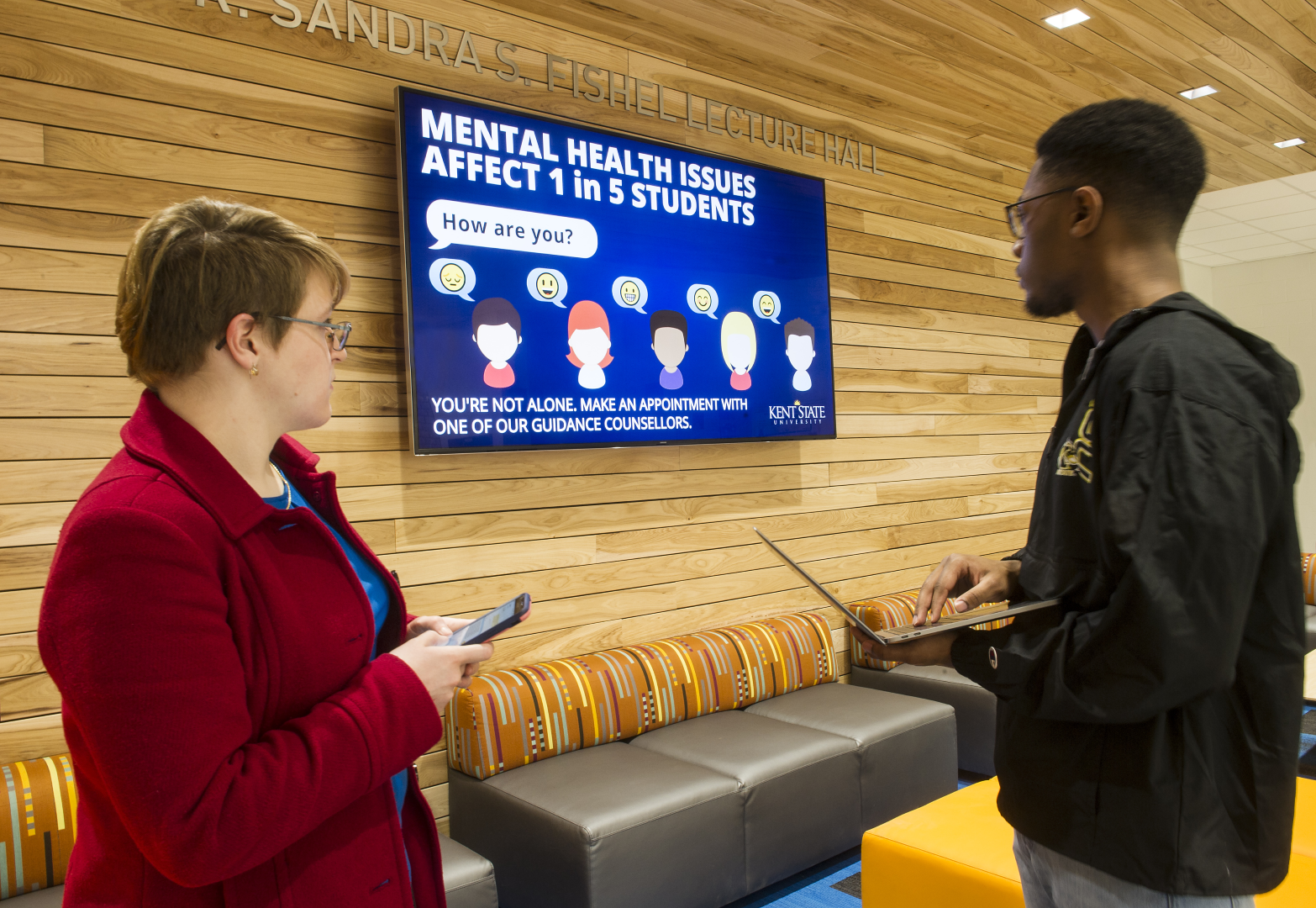 Mental health digital signage at Kent State University
