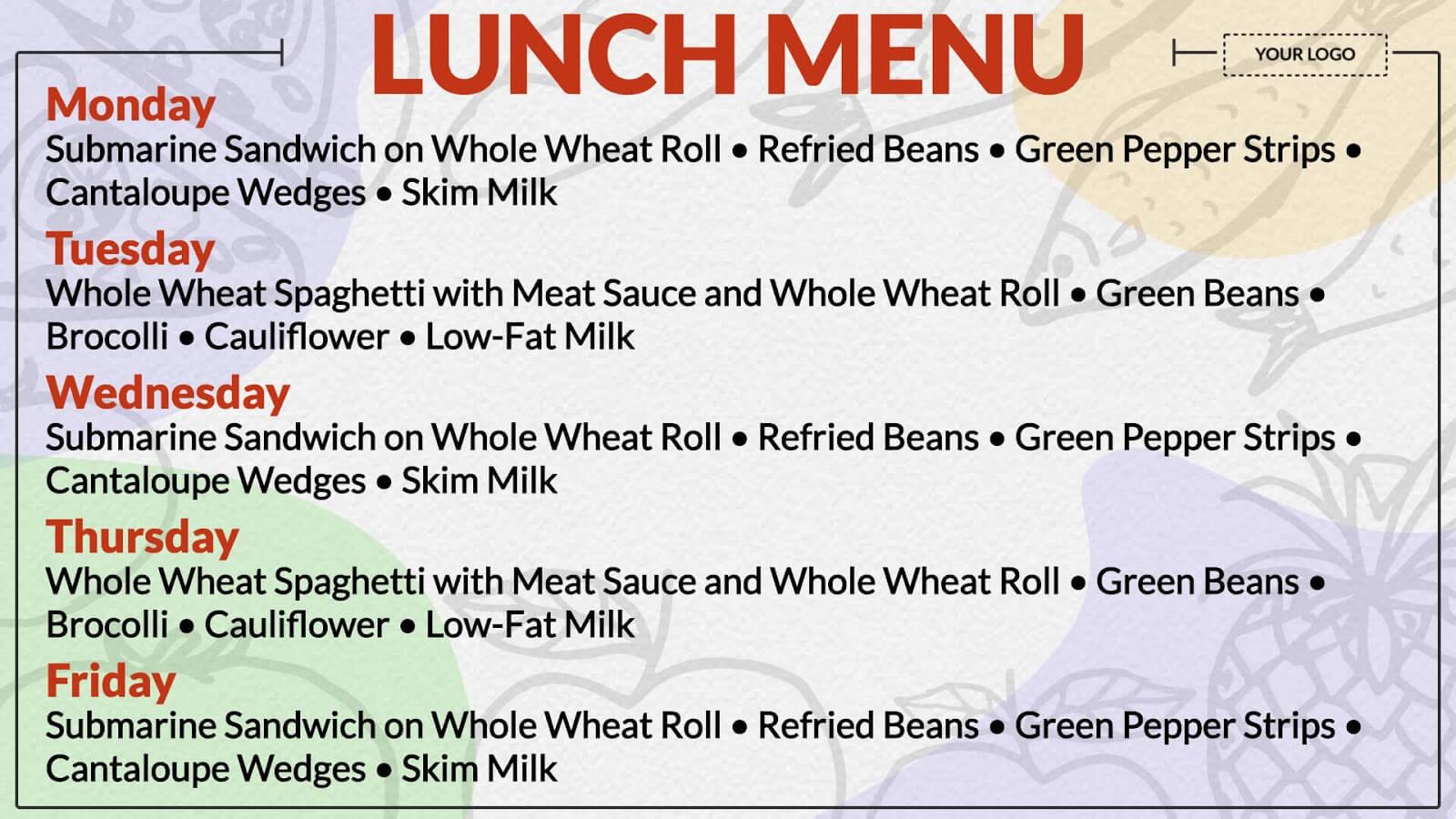 lunch menu board digital signage template