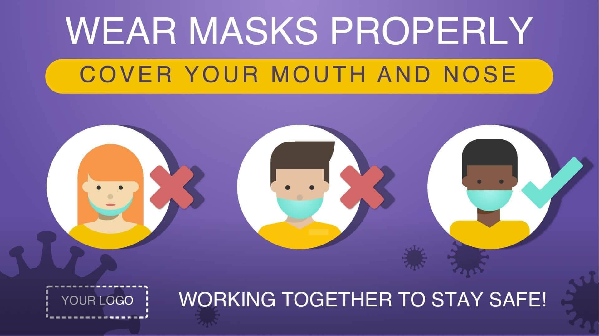 Digital signage showing a message on how to wear masks properly.