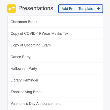 presentation setting add from template