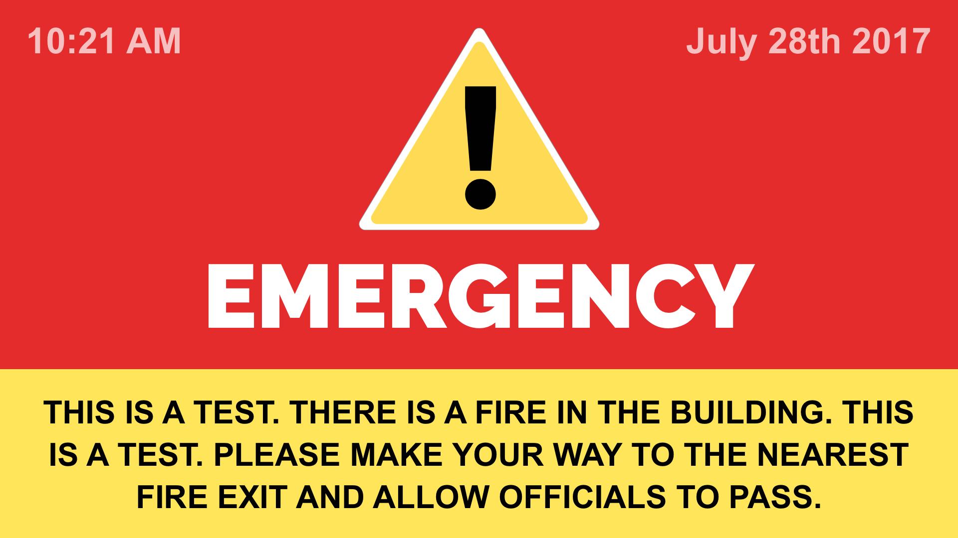 emergency alert on digital signage