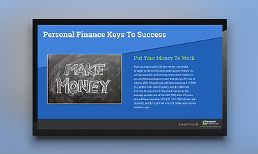 finance keys to success digital signage template