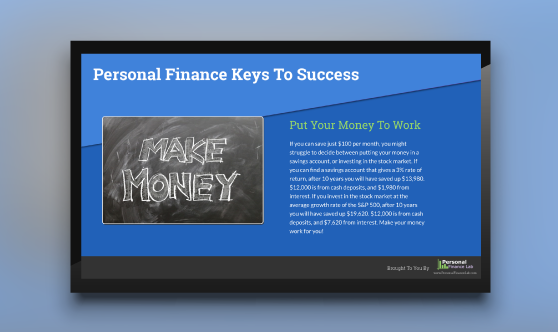 Financial Literacy Success Digital Signage