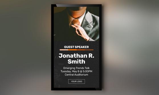 guest speaker digital signage template