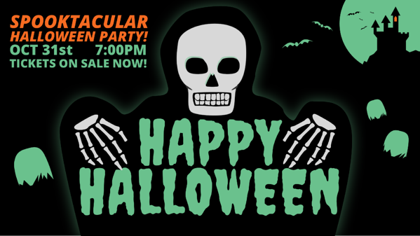 glowing skeleton happy halloween digital signage template