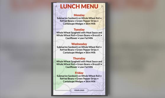 school lunch menu portrait template