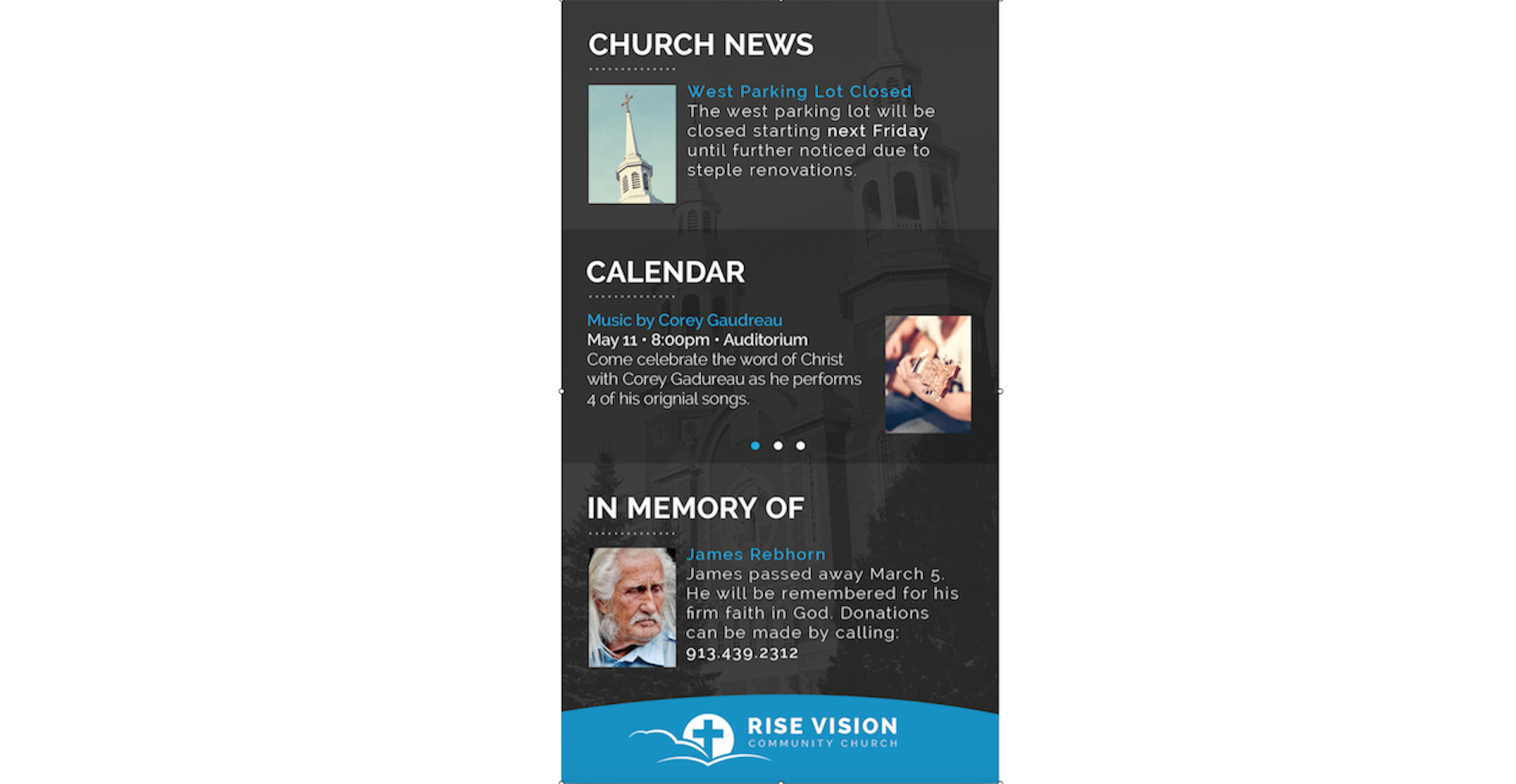 digital signage for churches in portrait mode