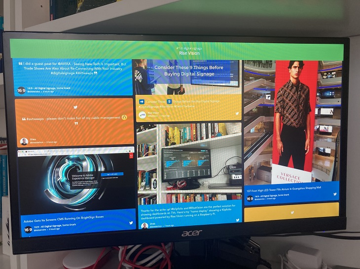 Rise Vision and Taggbox running on a home display