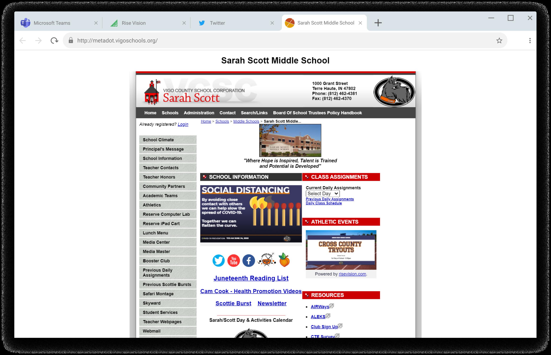 sarah scott middle school showing rise vision digital signage