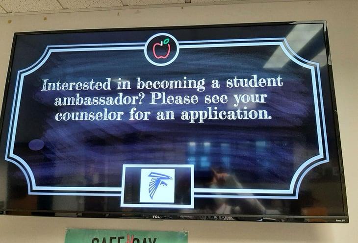 school announcements on monitors