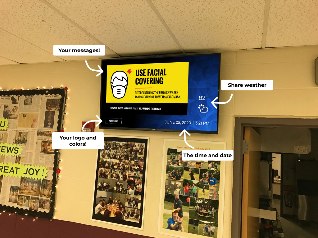 School digital signage featuring weather, the time and date, and various messages.