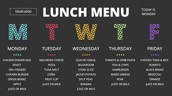 School cafeteria lunch menu digital signage template
