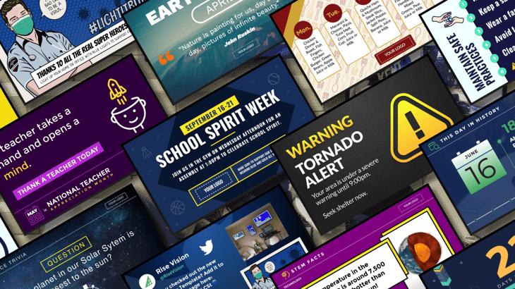 School digital signage templates