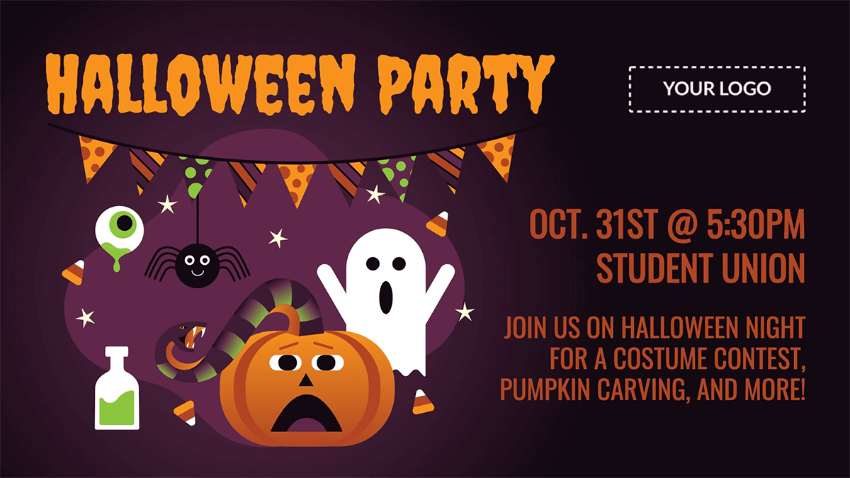 school halloween party digital signage template