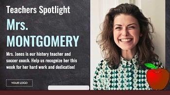 School hallway teacher spotlight digital signage