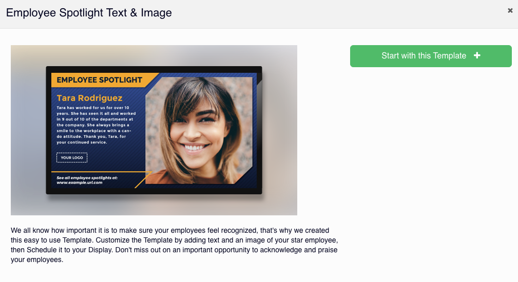 select Rise Vision template text and image