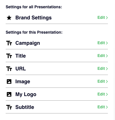 settings for all presentations Rise Vision
