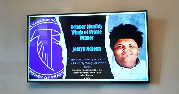 student recognition on digital signage