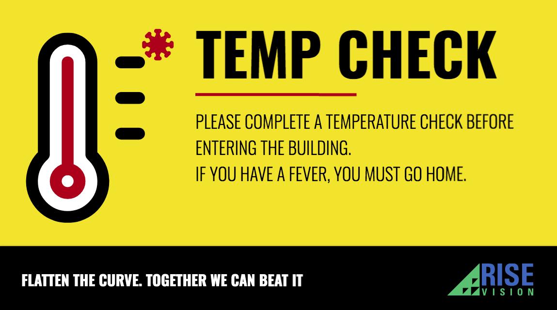 temperature check for COVID-19 digital sign