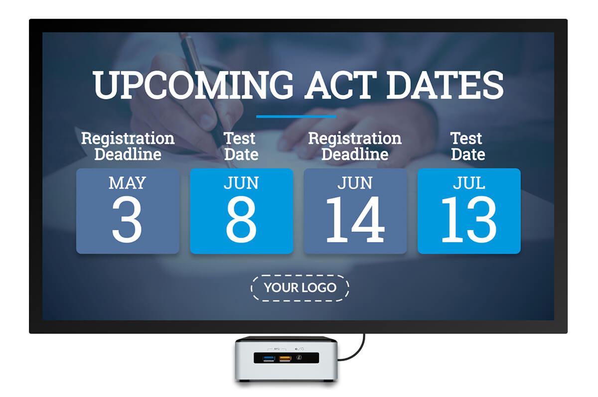 upcoming act test dates digital signage template