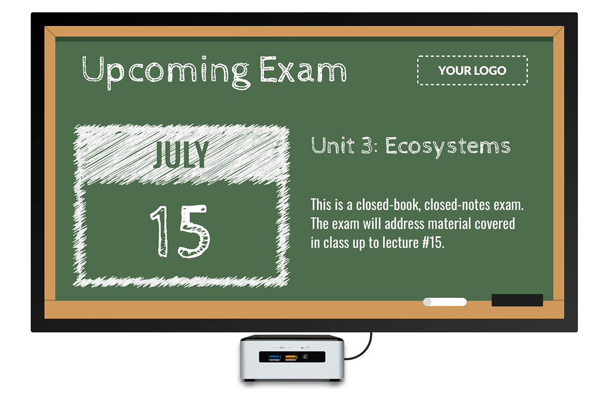 upcoming school example digital signage template
